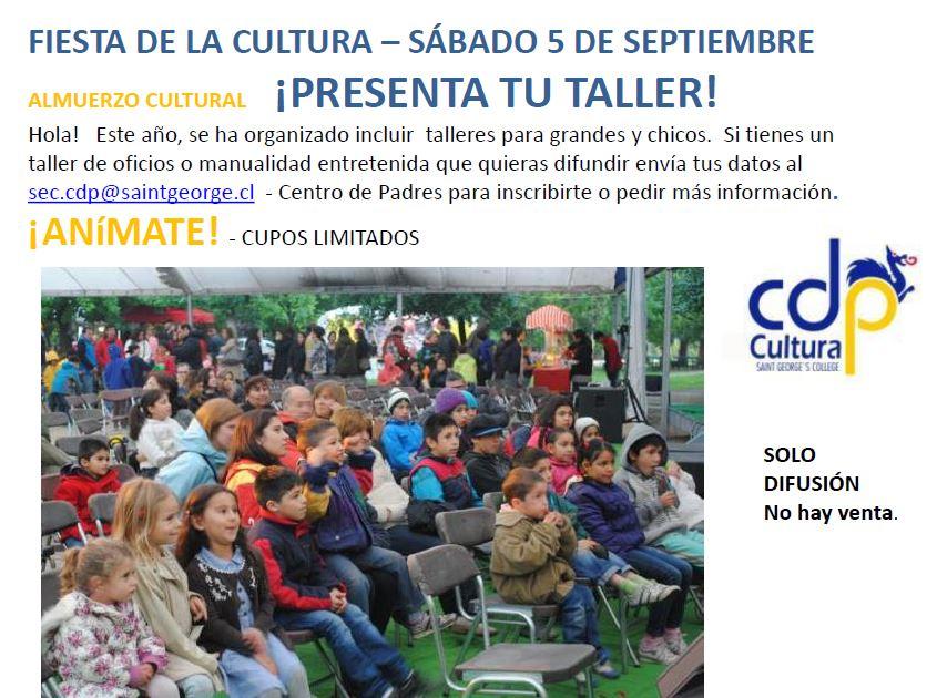 Te invitamos a presentar tu taller en la Fiesta de la Cultura, el sábado 05/09